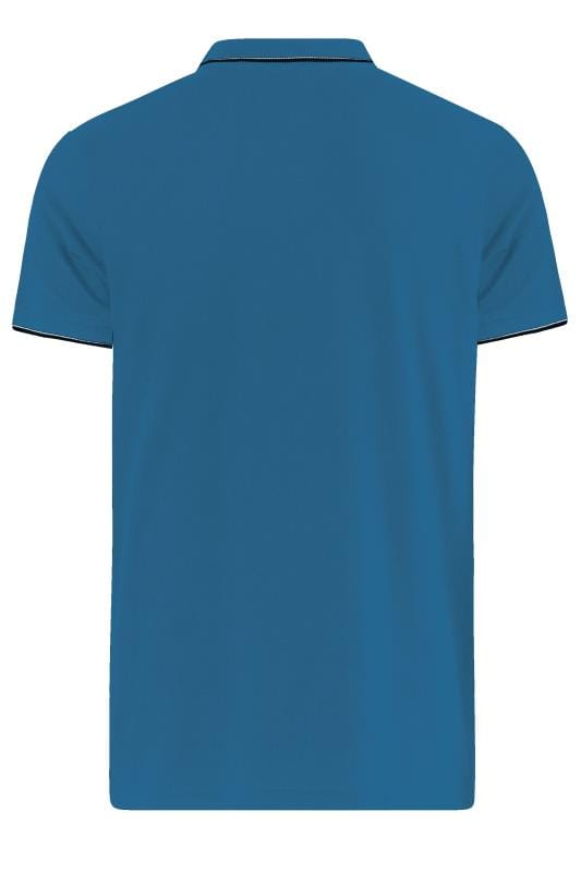 D555 Turquoise Blue Tipped Polo Shirt