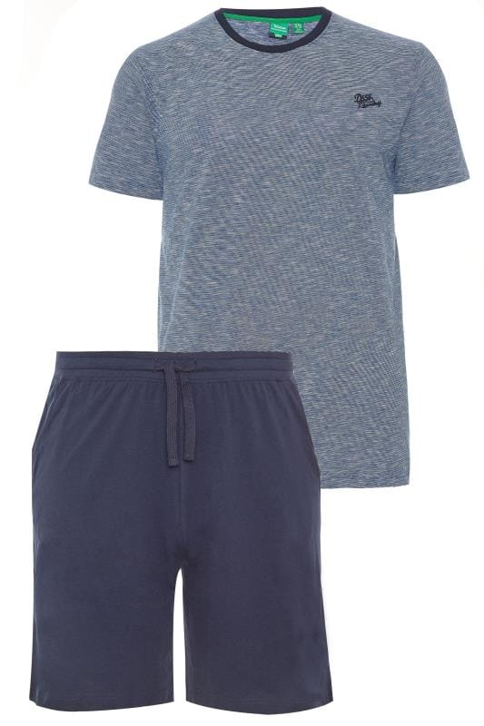 D555 Blue & Navy T-Shirt & Shorts Loungewear Set
