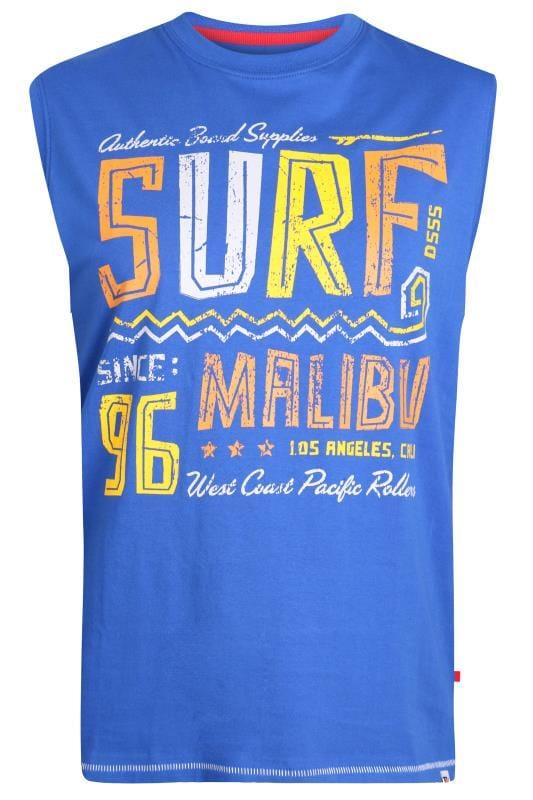 Plus Size Vests D555 Blue 'Surf' Slogan Vest