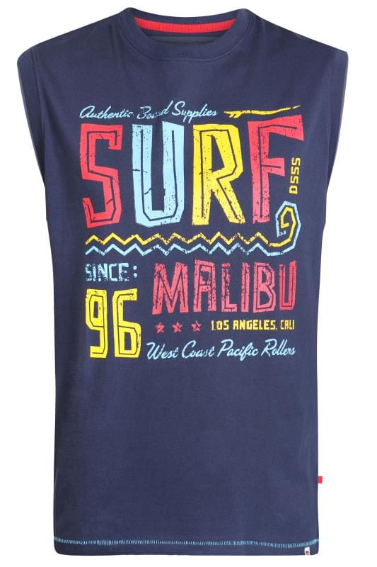Vests D555 Navy 'Surf' Slogan Vest 202528