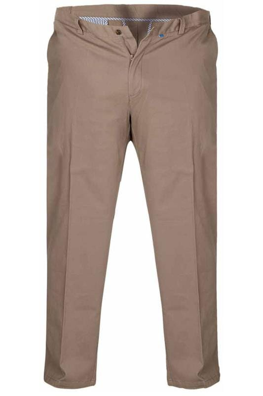 Plus Size Chinos & Cords D555 Stone Extendable Waist Stretch Chinos