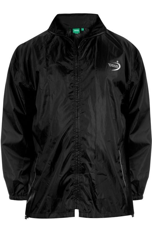 Jackets Grande Taille D555 Black Foldaway Waterproof Jacket