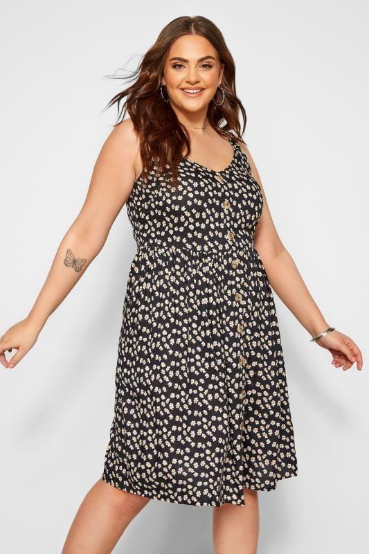 Plus Size Floral Dresses Black Daisy Button Front Skater Dress