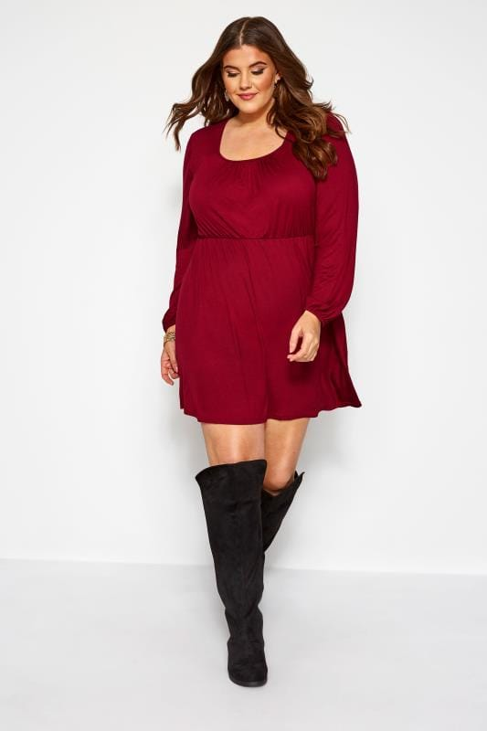 Plus Size Tunics Wine Red Balloon Sleeved Tunic