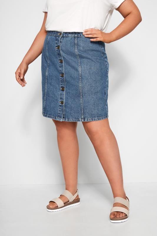 Große Größen Jeansröcke Geknöpfter Jeansrock - Blau