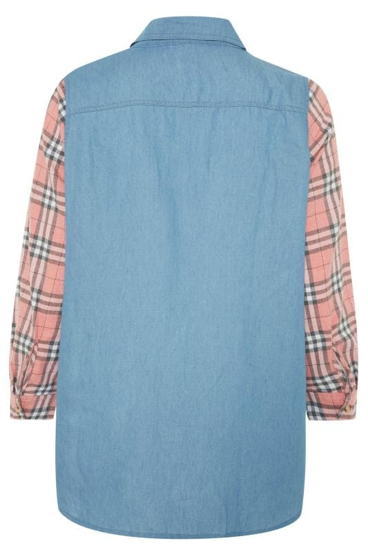 Blue & Pink Mixed Check Denim Shirt