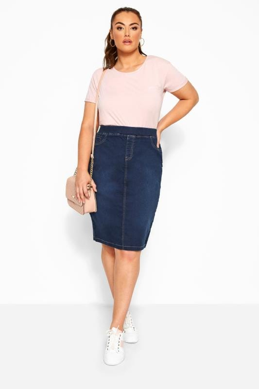 Plus Size Denim Skirts Blue Stretch JENNY Denim Skirt