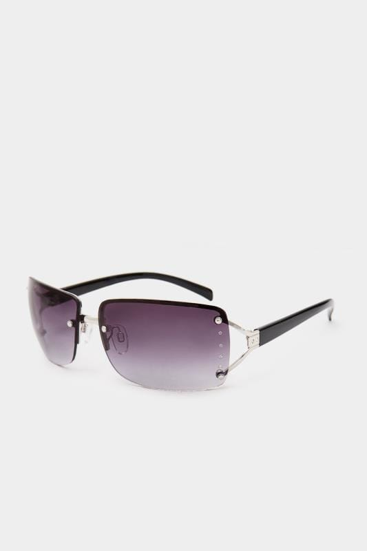 Sunglasses Black Tinted Rimless Sunglasses