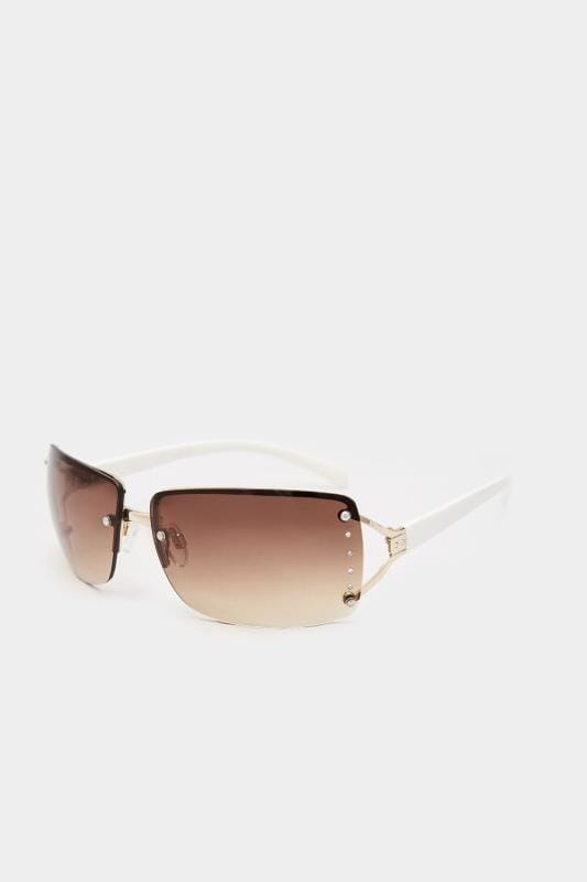 Большие размеры | Sunglasses White Tinted Rimless Sunglasses