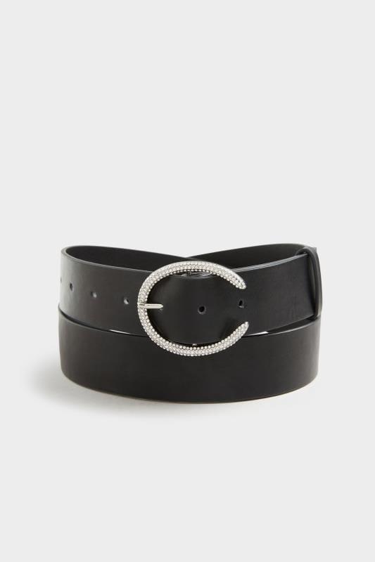 Black & Silver Diamante Horseshoe Belt
