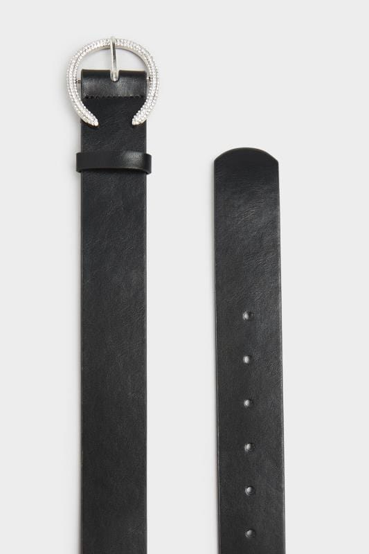 Black & Silver Diamante Horseshoe Belt