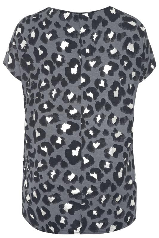Grey Foil Animal Print Top