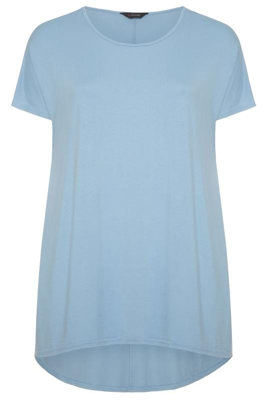 Plus Size Dipped Hem Tops Pastel Blue Dipped Hem Top