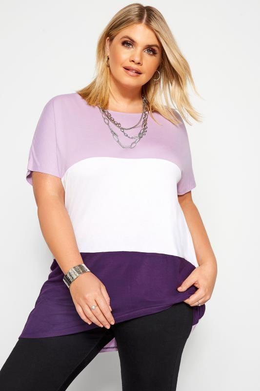 Purple Colour Block Dipped Hem Top