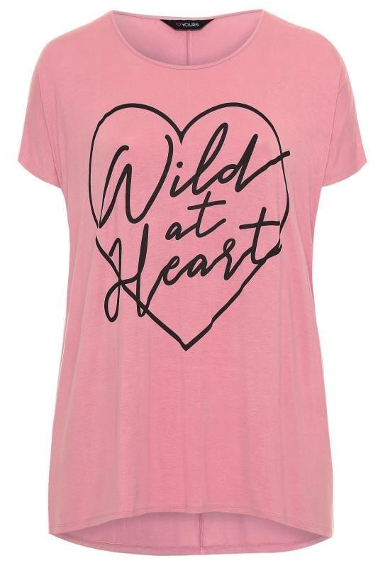 Pink 'Wild At Heart' Slogan Print Dipped Hem Top
