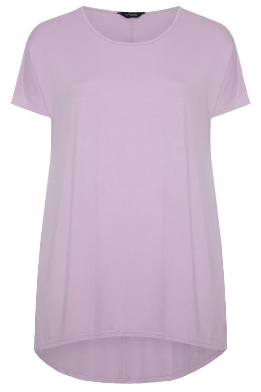 Plus Size Basic T-Shirts & Vests Pastel Lilac Dipped Hem Top