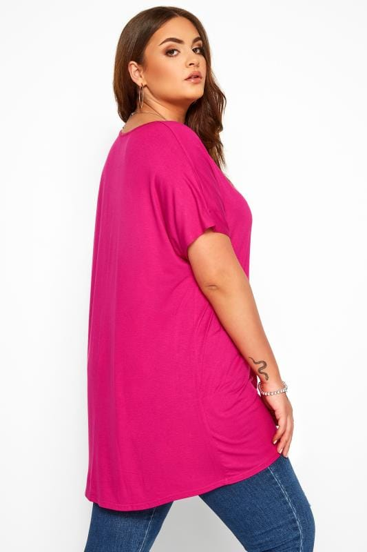 Hot Pink Dipped Hem Top