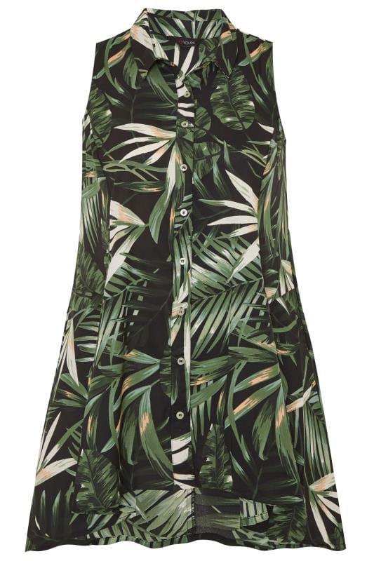 Black Tropical Print Sleeveless Chiffon Shirt