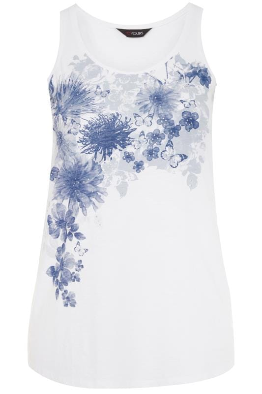 White Floral Dipped Hem Vest Top