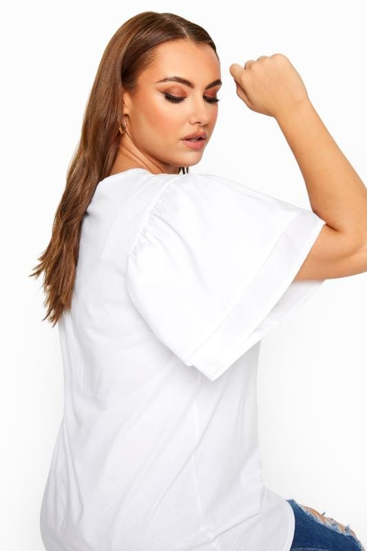 LIMITED COLLECTION White Poplin Angel Sleeve Top