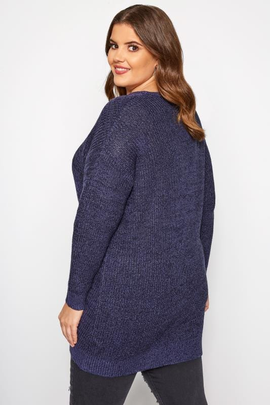 Dark Blue Chunky Knitted Jumper