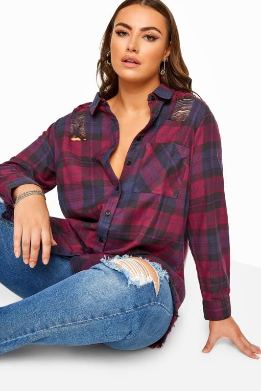 Plus Size Blouses & Shirts Purple Distressed Check Shirt