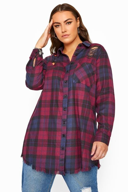 Purple Distressed Check Shirt