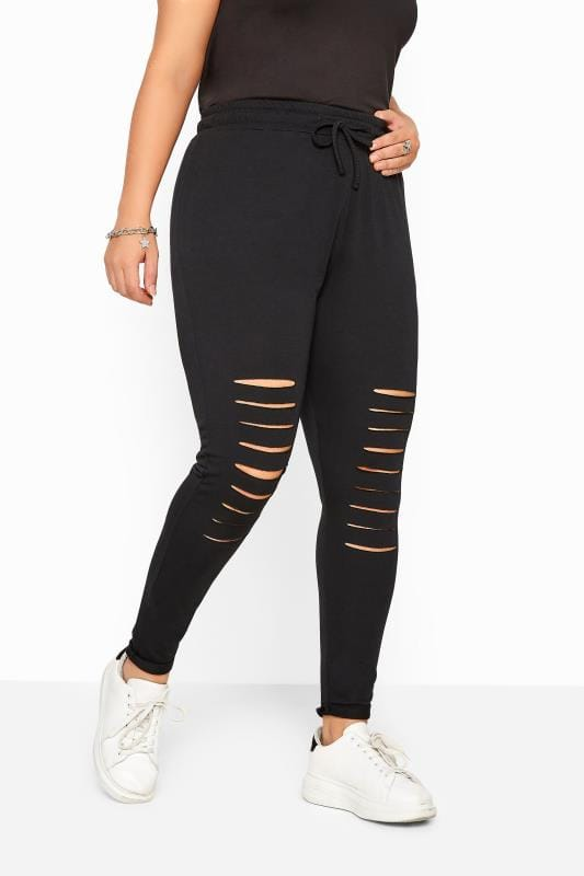 Black Distressed Ripped Joggers