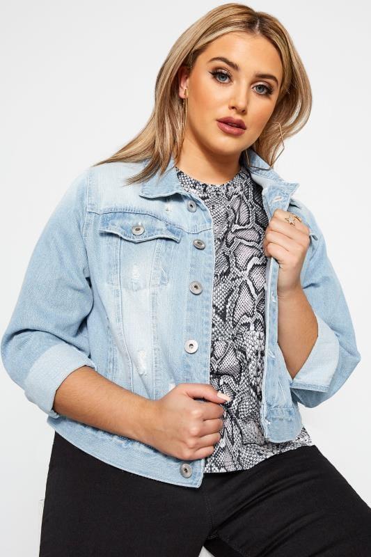 Plus Size Denim Jackets Light Blue Distressed Cropped Denim Jacket
