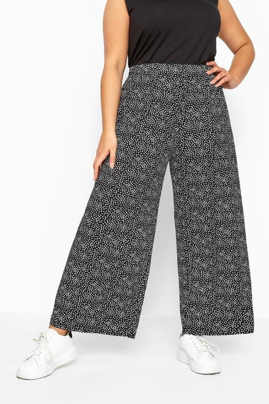 LIMITED COLLECTION Black Ditsy Wide Leg Trousers