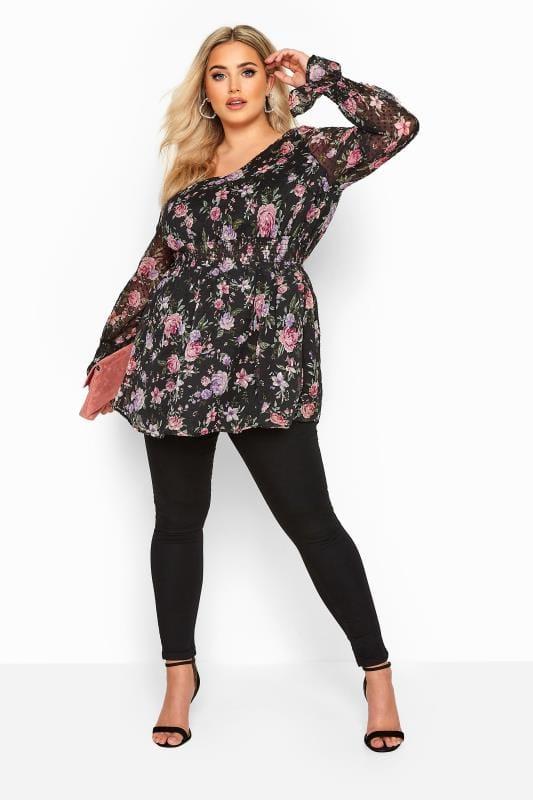 Black Floral Dobby Shirred Blouse