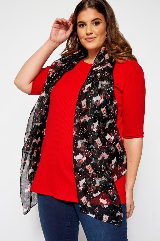 Plus Size Scarves Black Foil Christmas Dog Scarf