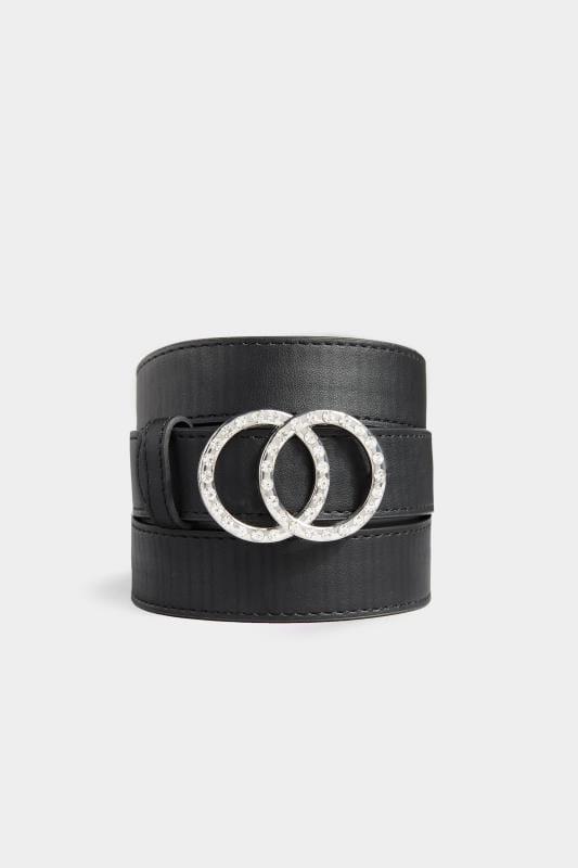 Black Diamante Double Circle Belt