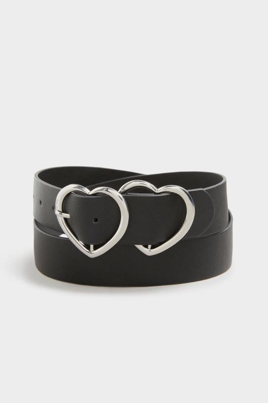 Yours Black Double Heart Belt