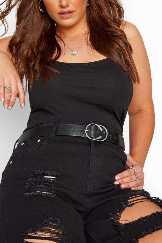 Plus Size Belts Black Double Horseshoe Buckle Belt