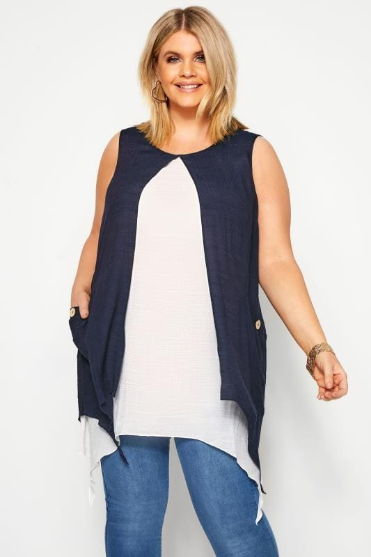Plus Size Tunics Navy Double Layer Button Pocket Tunic