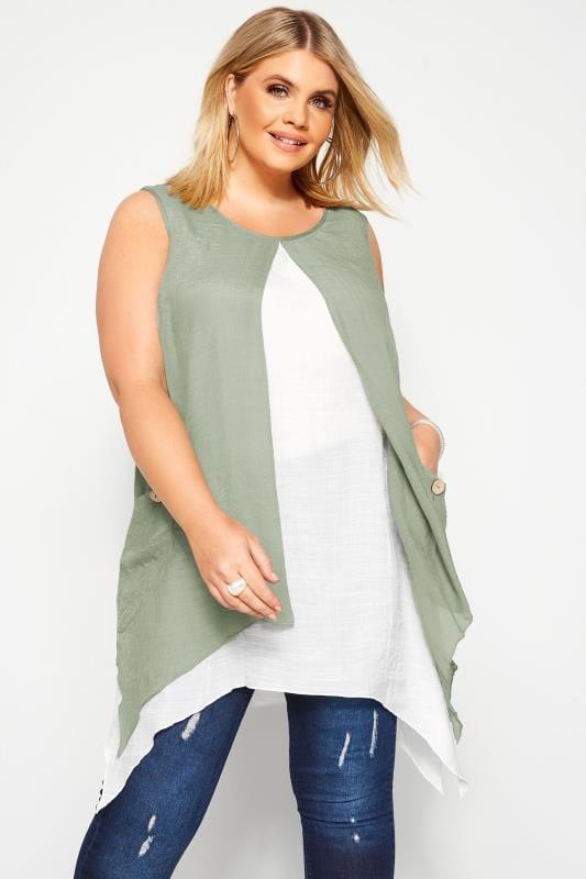 Plus Size Tunics Sage Green Double Layer Button Pocket Tunic