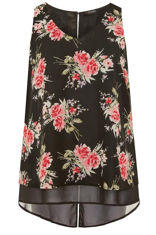 Black Floral Double Layer Chiffon Top