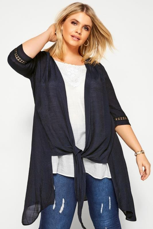 Plus Size Casual / Every Day Navy & White 2 in 1 Crochet Tunic