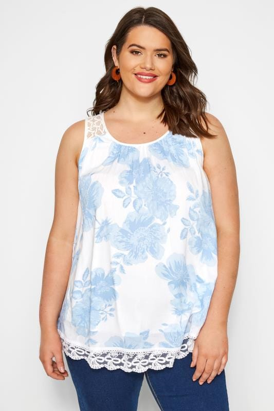 Plus Size Blouses & Shirts Blue Floral Double Layer Lace Vest Top