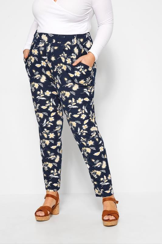 Plus Size Harem Trousers Navy Floral Print Tapered Trousers