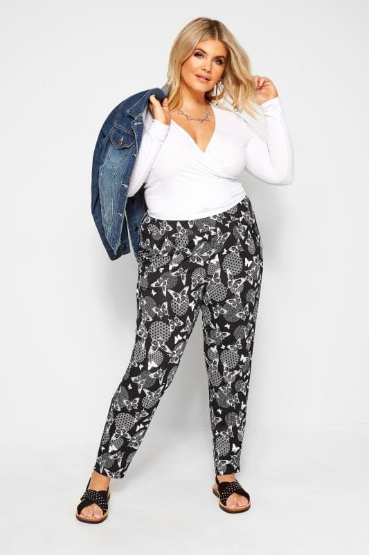Plus Size Tapered & Slim Fit Trousers Black Butterfly Print Tapered Trousers