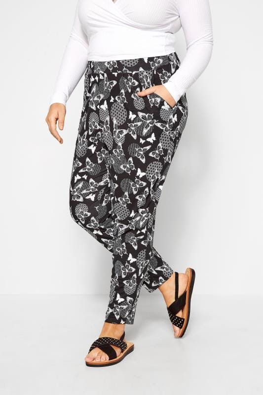 Black Butterfly Print Tapered Trousers