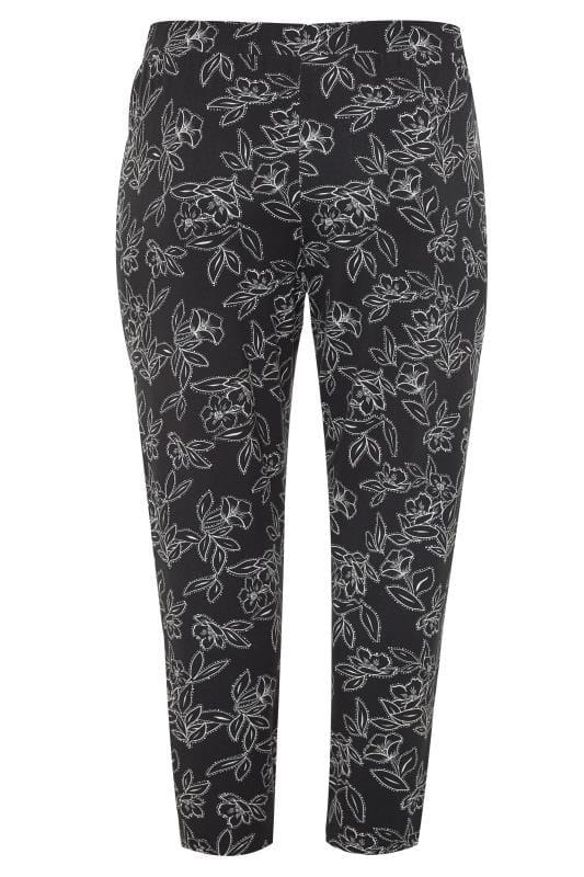 Black Floral Spot Double Pleat Harem Trousers