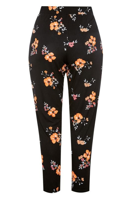 Black Floral Print Tapered Trousers