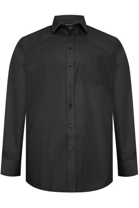 DOUBLE TWO Black Non-Iron Long Sleeve Shirt