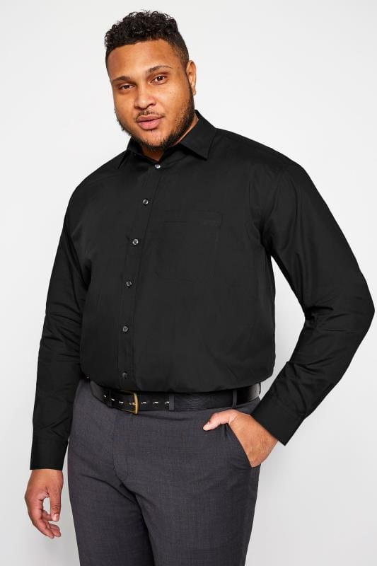 Plus Size Smart Shirts DOUBLE TWO Black Non-Iron Long Sleeve Shirt