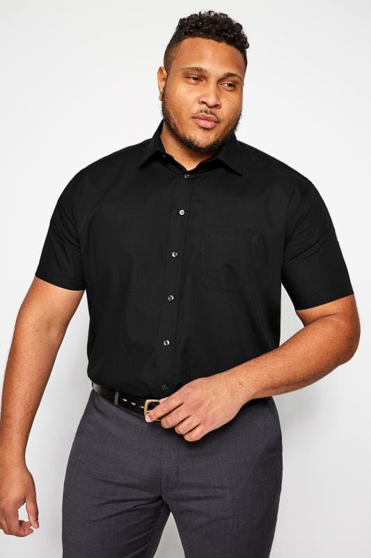 Casual / Every Day dla puszystych DOUBLE TWO Black Non-Iron Short Sleeve Shirt