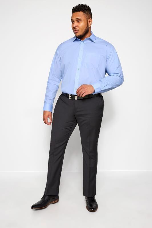DOUBLE TWO Blue Non-Iron Long Sleeve Shirt