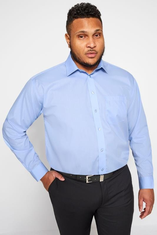 Plus Size Gifts DOUBLE TWO Blue Non-Iron Long Sleeve Shirt